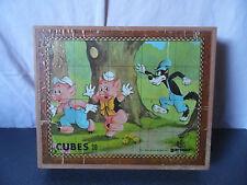 Vintage Boite 20 cubes Garnier Disney(3 petits cochons,Pinocchio,101 dalmatiens)