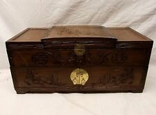 Vtg Large Carved Wood Chinese Jewelry Box Chest Mirror Lid Longevity Feng Shui
