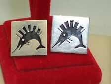 Out Sword Fish Design Cuff Links Vintage Mexican Silver Signed V Jg Cut