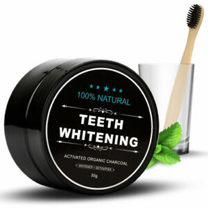 Teeth Whitening Powder Natural Organic Activated Charcoal Bamboo + Toothbrush