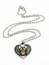 "Scarab Beetle Pendant Silver Gold Symbol of Life Longevity - 18"" Chain Necklace"