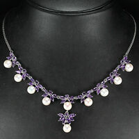 Sterling Silver 925 Genuine Natural Amethyst & Button Pearl Necklace 18 Inch