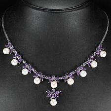 Plata esterlina 925 genuina Amatista & Botón Collar de perlas natural de 18 pulgadas