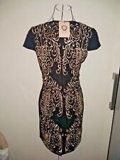 Brand New Elegant Women Black Textured Gold seams Races Cocktail Dress 10 AU