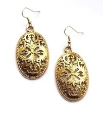 GOLD FILIGREE LARGE FLAT OVAL DROP EARRINGS NEW - WITH ORGANZA GIFT BAG