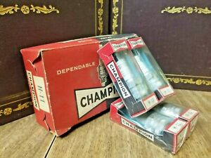Vintage Champion H11 spark plugs Lot of 4 Advertising box Porcelain Toledo NOS