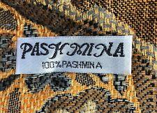Pashmina 100%. Scarf Wrap. Shades of gold, gray. Knotted fringe Unused Free ship