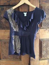 Odille Sz 4 Gray Silk Pattern Cap Sleeve Blouse Top