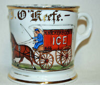 "Antique T&V France Occupational Shaving Mug - ""Knickerbocker Ice Delivery Man"""