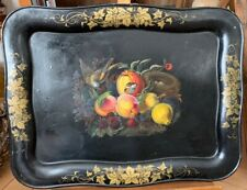 Vintage black Tole Tray with handpainted Bird's Nest and Fruits