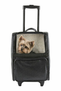 PETOTE RIO Black Woven Rolling Dog Carrier On Wheels Airline Bag