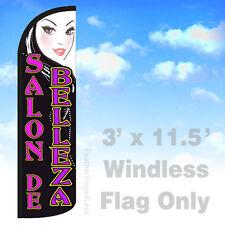 SALON DE BELLEZA - WINDLESS Swooper Feather Flag 3x11.5 Banner Sign - kq