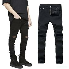 Mens Spring Knee Ripped Hole Jeans Black Denim Stylish Cowboy beggar pants 27-42