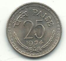 VERY NICE HIGH GRADE UNC/BU 1974 B INDIA 25 PAISE COIN-FEB512