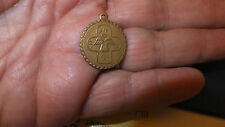 "Antique Catholic Medalion Cross and Holy Spirit Scapular Brass 0ver 1/2"" round"