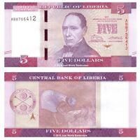 Liberia 5 Dollars 2017 Prefix 'AB'  P-31b Banknotes UNC