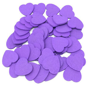 Dark Purple 18mm Love Hearts Wooden ShabbyChic Craft Scrapbook Coloured Hearts