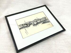 Original Framed Malaysian Art Painting Drawing Asian Waterfront Landscape Scene