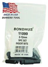 Bondhus 9pc 1/4in Shank Hex Insert Bit Set Metric 2-12mm BallDriver USA 11099