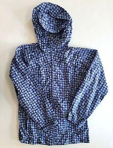 Land's End 7-8 Girls Floral Blue Packable Rain Jacket Coat RC1-6