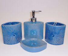 4 Piezas Azul Ovalado de Cerámica Dispensador Jabón + Portacepillos + Vaso +
