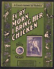 Ev'ry Morn I Bring Her Chicken 1903 Large Format Sheet Music