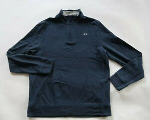 Vineyard Vines Boys Pima Cotton LS 1/4 Zip Solid Navy Blue Sweater Youth Large