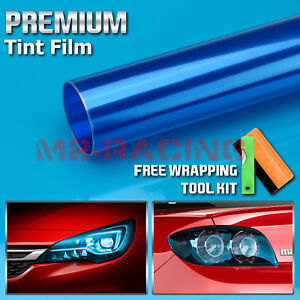 "12""x24"" Glossy Dark Blue Smoke Tint Headlight Taillight Fog Light Vinyl Film"