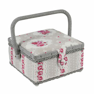 Small Sewing Basket Box - Vintage Floral Design - Taupe/Grey & Pink