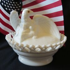 Westmoreland Milk Glass Eagle W / Eaglets  Coverered Candy Dish CODE 604
