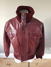NWOT Rocco Tuscani Bomber Genuine Leather Jacket Sz Men Large Maroon Italian