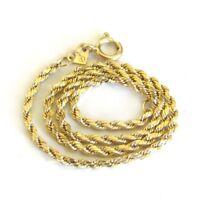 "Solid 14K Gold Rope Chain Bracelet 7"" L x 1.5mm W Diamond Cut"