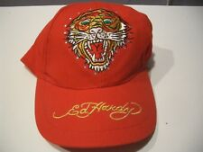 ED HARDY RED TIGER EMBROIDERY BEADED BASEBALL HAT ADJUSTABLE BACK NWT