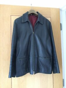 Ladies Black Leather Coat Jacket Size 18 Vintage 1980s from M&S