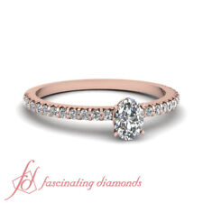 Rose Gold Petite Engagement Ring With Oval Shaped FLAWLESS Diamond 0.70 Carat