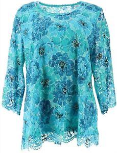 Isaac Mizrahi Floral Printed Lace 3/4-Sleeve Knit Top Aqua XL NEW A365433