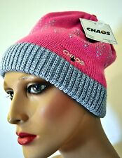 NWT Chaos Teen Girls Winter Hat Pink Silver Sparkly Beanie O/S Free Shp