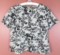 TB06867- TALBOTS WOmen's Cotton Modal Short Sleeve Peplum Blouse Multicolor XP