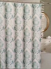 TAHARI Cotton Medallion Chinoisserie Damask Shower Curtain Mint Gray,Skygrays