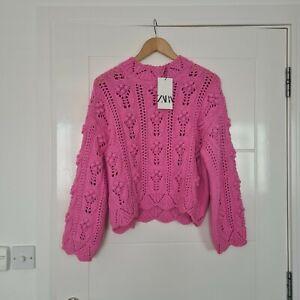 Zara Oversized Knit Pink Sweater With Pom Pom Detail BNWT Size Small