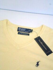 NEW Ralph Lauren Men's Sweater Size Medium Cotton Silk Cashmere Blend V-Neck Top