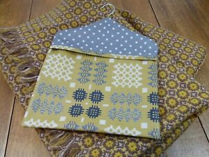 Welsh Blanket Weave Print Mustard & Grey Spotty Oilcloth Peg Bag