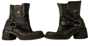 Harley Davidson Boots Womens Used Size 6.5 Nicely Worn In Leather Genuine Boots