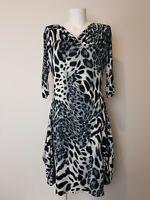 Gabriella Frattini Stunning Leopard Print Party Dress Women's Size 8 3/4 Sleeve