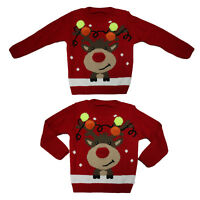 Boys Girls Unisex 3D Festive Reindeer Antler Pom Pom Jumper Vintage Sweater Xmas