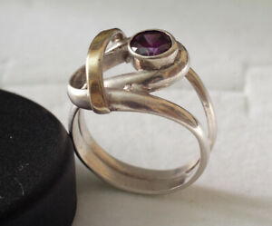 Sterling silver 925 gold artist ring amethyst fine jewelry gem stone unusual