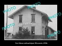 OLD LARGE HISTORIC PHOTO OF NEW GLARUS WISCONSIN, RAILROAD DEPOT STATION 1950s