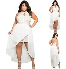 Sz 18 20 White High Low Lace Cocktail Dance Evening Party Sexy Gown Chic Dress