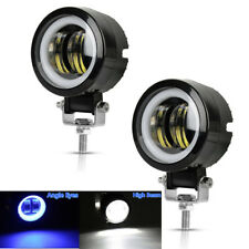 "2x 3"" 20W Round CREE LED Work Light Car Spot Fog DRL Lighting w/ Blue Halo Ring"