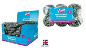 6x Stainless Steel Scourers Kitchen Washing Cleaning Wire Pads Pan Stains UK